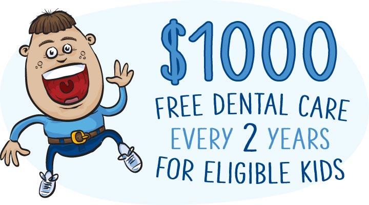 $1000 free dental care for eligible kids every 2 yeras Child Dental Benefits Schedule CDBS Medicare bulk billing dentist